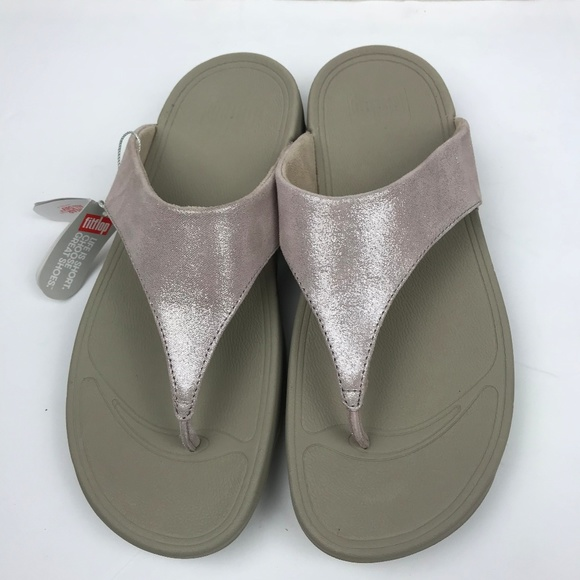 abfe99c1ebcf FitFlop LuLu Shimmer Suede Toe Post Pink  Nude 9